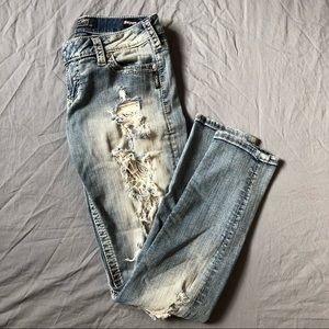 Silver Tuesday Low Skinny lace distressed jeans